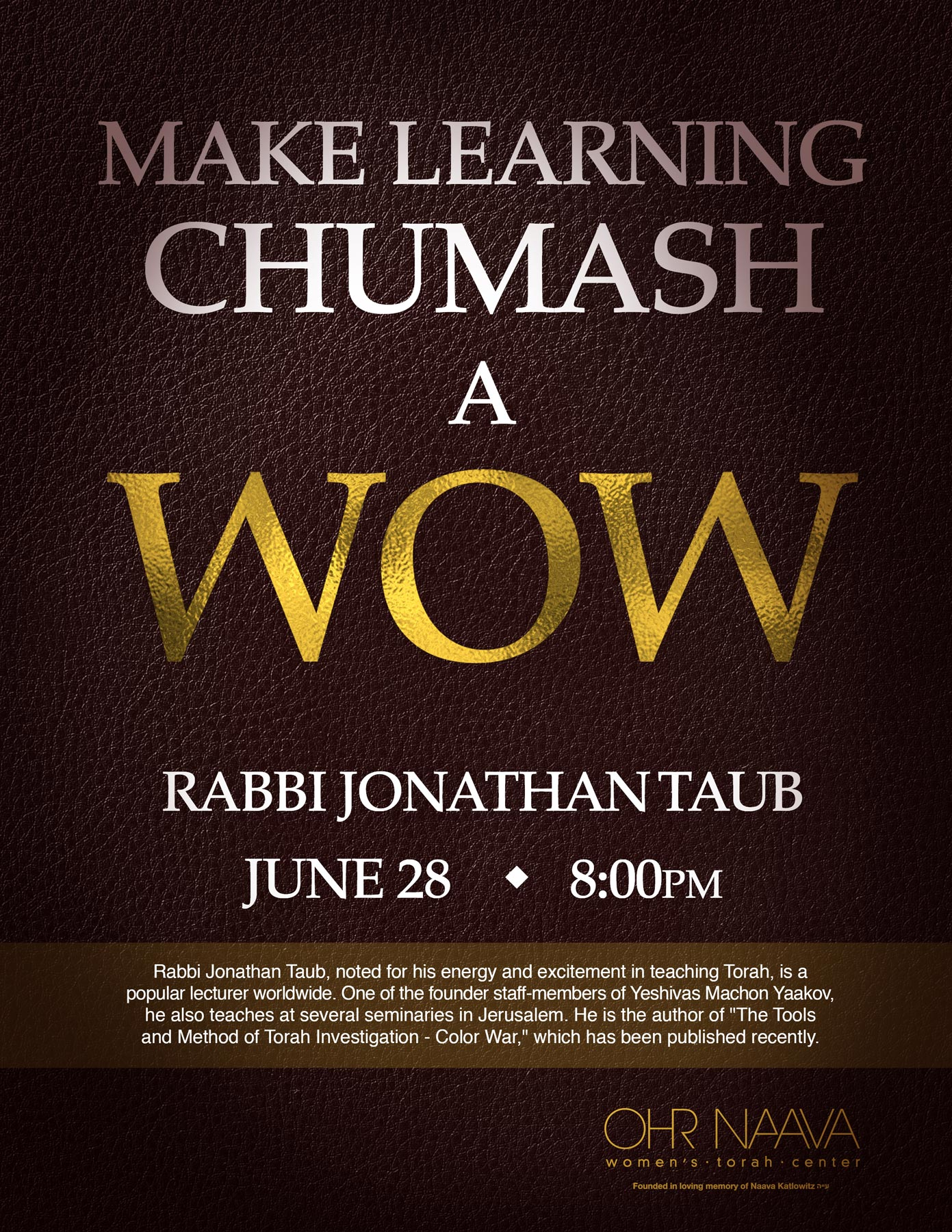 Make learning Chumash a WOW!